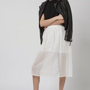 Topshop white organza prom midi skirt